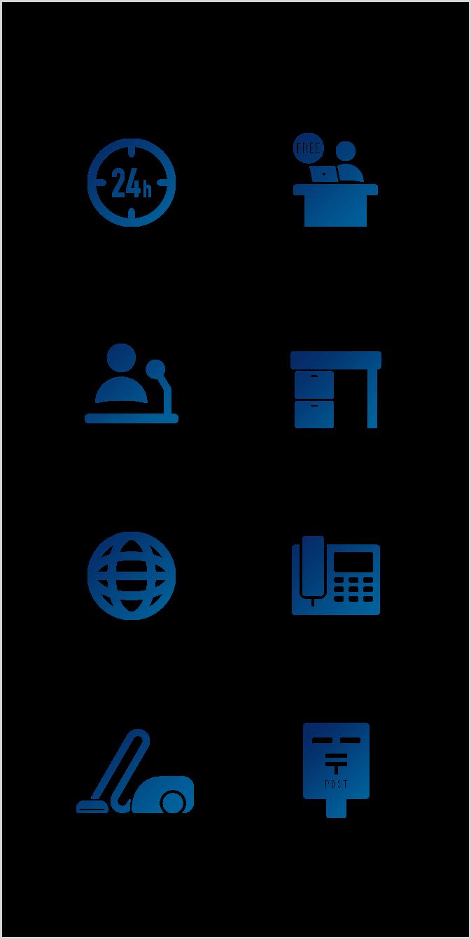 その他のサービス 24時間利用可能 併設ラウンジ常時無料利用可能 FLEX内無料会議室あり ワークスタイリングSHARE無料利用可能(全国) カンファレンス対応 家具付き ネット専用回線施設可能 IP内線電話網 ルームクリーニング 郵便物発送代行・受け取り代行 貸し出し備品